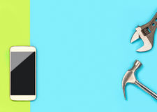 La bandera del fondo del teléfono móvil con mucho espacio en blanco libre de la copia para el texto y el contenido para el smartp Fotografía de archivo