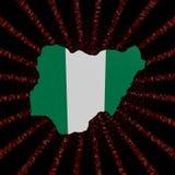 La bandera del mapa de Nigeria en código rojo del maleficio estalló el ejemplo ilustración del vector