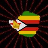 La bandera del mapa de Zimbabwe en código rojo del maleficio estalló el ejemplo Fotos de archivo libres de regalías