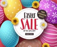 La bandera del vector de la venta de Pascua con los huevos de Pascua coloridos, las flores y la venta mandan un SMS