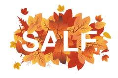 La bandera del vector del otoño con caída roja amarilla anaranjada sale de cubrir el texto de la venta stock de ilustración