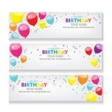La bandera Editable del feliz cumpleaños con vector de la decoración del globo y del confeti diseña celebración, fondo del evento Foto de archivo