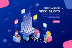 La bandera Editable para el software del Freelancer desarrolla Wireframe stock de ilustración