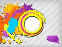 La bandera en blanco de Grunge con multicolor salpica libre illustration