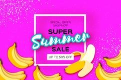 La bandera estupenda de la venta del verano del plátano en papel cortó estilo Fruta de la pluma de la papiroflexia Comida fresca  libre illustration
