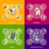 La bandera farmacéutica química del concepto de la ciencia fijó la visión isométrica 3d Vector libre illustration