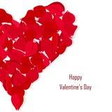 La bandera feliz de la tipografía de día de San Valentín, subió corazón de los pétalos libre illustration