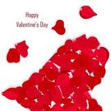La bandera feliz de la tipografía de día de San Valentín, subió corazón de los pétalos Forma roja del corazón de los pétalos en l stock de ilustración