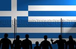 La bandera griega detrás asegura la cerca stock de ilustración