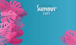 La bandera horizontal de la venta del verano con el papel cortó las hojas tropicales rosadas en fondo azul Diseño floral exótico  stock de ilustración