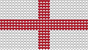 La bandera inglesa en corazones Fotos de archivo