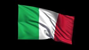 La bandera italiana de colocación inconsútil de la república que agita en viento de t Republiche, canal alfa es incluida metrajes