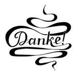 La bandera monocromática Danke de la tipografía, significa gracias en lengua alemana, remolina las letras dibujadas mano ilustración del vector