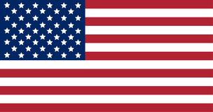 La bandera nacional de los Estados Unidos de América aisló en el fondo blanco ilustración del vector
