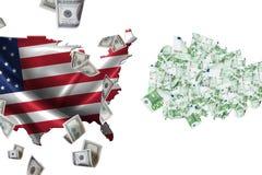 La bandera ondulada los E.E.U.U. traza y vuelo de los billetes de banco del dólar contra euro libre illustration