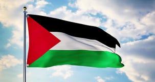 La bandera palestina que agita en el viento muestra el símbolo de Palestina del patriotismo - 4k 3d rendir almacen de metraje de vídeo