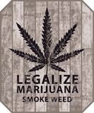 La bandera para legaliza la marijuana con la hoja del cáñamo ilustración del vector