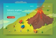 La bandera plana se escribe la erupción de Volcanik isométrica stock de ilustración