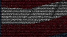 La bandera que agitaba de Austria hizo de símbolos del texto en una pantalla de ordenador Animación loopable conceptual metrajes