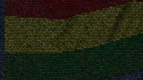 La bandera que agitaba de Bolivia hizo de símbolos del texto en una pantalla de ordenador Animación loopable conceptual almacen de video