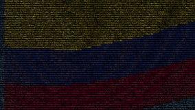 La bandera que agitaba de Colombia hizo de símbolos del texto en una pantalla de ordenador Animación loopable conceptual almacen de video