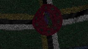 La bandera que agitaba de Dominica hizo de símbolos del texto en una pantalla de ordenador Animación loopable conceptual almacen de video