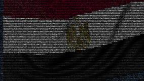 La bandera que agitaba de Egipto hizo de símbolos del texto en una pantalla de ordenador Animación loopable conceptual almacen de metraje de vídeo