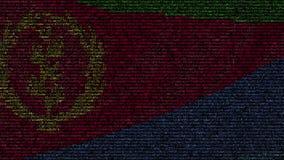 La bandera que agitaba de Eritrea hizo de símbolos del texto en una pantalla de ordenador Animación loopable conceptual metrajes