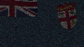 La bandera que agitaba de Fiji hizo de símbolos del texto en una pantalla de ordenador Animación loopable conceptual metrajes