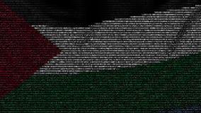 La bandera que agitaba de Palestina hizo de símbolos del texto en una pantalla de ordenador Animación loopable conceptual almacen de metraje de vídeo