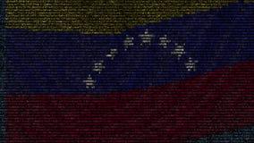 La bandera que agitaba de Venezuela hizo de símbolos del texto en una pantalla de ordenador Animación loopable conceptual metrajes