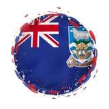 La bandera redonda del grunge de Falkland Islands con salpica en color de la bandera ilustración del vector