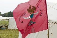 La bandera revolucionaria de la guerra lee adentro paz se prepara siempre para la guerra en el 225o aniversario del cerco de York Imagen de archivo
