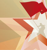 La bandera roja de la victoria en el fondo de estrellas Imagenes de archivo
