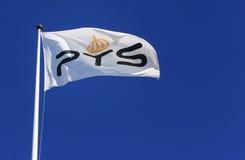 La bandera sueca de los posts y del PTS de la autoridad de las telecomunicaciones Foto de archivo libre de regalías