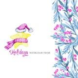 La bandera vertical de la acuarela con las hojas, las bayas y la historieta protagonizan en paños calientes Año Nuevo Feliz Navid Fotos de archivo libres de regalías
