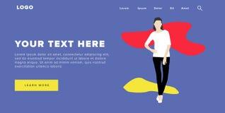 La bandera y el resbalador coloridos modernos del web del diseño plano incluyen los elementos de Ui con la página derecha del ate ilustración del vector