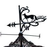 La banderuola con una figura di un Fox è un simbolo di Surgut e dell'iscrizione immagini stock libere da diritti