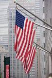 La bandiera americana degli S.U.A. stars lo ione New York City di tessitura Fotografia Stock
