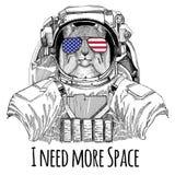 La bandiera americana Stati Uniti di vetro della bandiera degli S.U.A. inbandiera l'astronauta d'uso selvaggio dell'animale selva illustrazione di stock