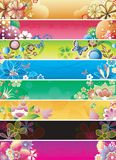 La bandiera astratta floreale ha impostato 2 Immagine Stock Libera da Diritti