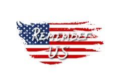 La bandiera d'annata di U.S.A. con ricorda il testo degli Stati Uniti Bandiera americana di vettore su struttura di lerciume Prog Fotografia Stock Libera da Diritti