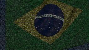 La bandiera d'ondeggiamento del Brasile ha fatto dei simboli del testo su uno schermo di computer Animazione loopable concettuale stock footage