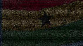 La bandiera d'ondeggiamento del Ghana ha fatto dei simboli del testo su uno schermo di computer Animazione loopable concettuale archivi video