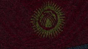La bandiera d'ondeggiamento del Kirghizistan ha fatto dei simboli del testo su uno schermo di computer Animazione loopable concet stock footage