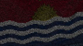 La bandiera d'ondeggiamento del Kiribati ha fatto dei simboli del testo su uno schermo di computer Animazione loopable concettual archivi video