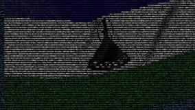 La bandiera d'ondeggiamento del Lesotho ha fatto dei simboli del testo su uno schermo di computer Animazione loopable concettuale archivi video