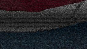 La bandiera d'ondeggiamento del Lussemburgo ha fatto dei simboli del testo su uno schermo di computer Animazione loopable concett stock footage