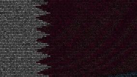 La bandiera d'ondeggiamento del Qatar ha fatto dei simboli del testo su uno schermo di computer Animazione loopable concettuale stock footage
