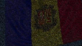 La bandiera d'ondeggiamento dell'Andorra ha fatto dei simboli del testo su uno schermo di computer Animazione loopable concettual archivi video